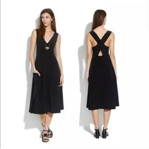 Madewell Black Silk Crossover Dress Midi